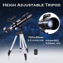 70mm Astronomical Refractor Telescope Refractive Spotting Scope Eyepieces Tripod Kids Beginners 01RTC001-40070-06