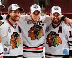 Chicago Blackhawks Captains Jonathan Toews, Duncan Keith, & Patrick Sharp Celebrate Winning the 2010 Stanley Cup Photo Print PFSAAML16301