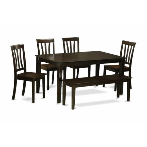 East West Furniture CAAN6-CAP-W 6 Piece Dining Table With Bench Set-Dining Table and 4 Kitchen Chairs and Bench