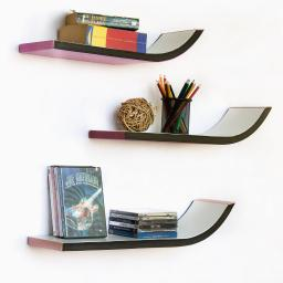 The Baroque Stylish J Type Leather Wall Shelf / Floating Shelf (Set of 3)
