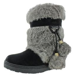 Bearpaw Womens Tama II Suede Pom Poms Winter Boots