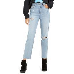Celebrity Pink Womens Juniors Relaxed Slim Distressed Straight Leg Jeans