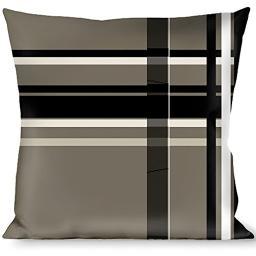 Buckle-Down Throw Pillow - Plaid Gray Black White