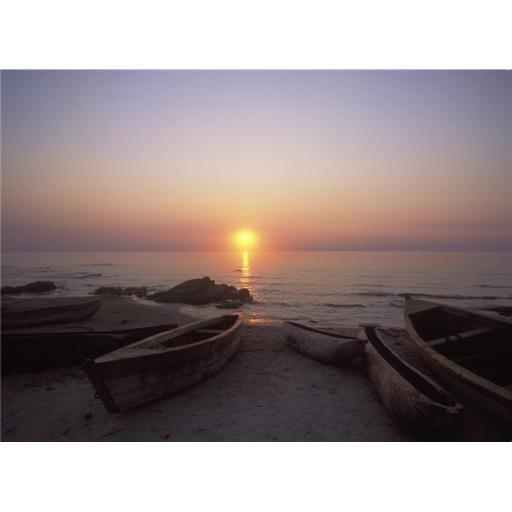 Canoes & Fishing Boats On Beach By Lake Malawi, Sunset Poster Print, 18 x 13