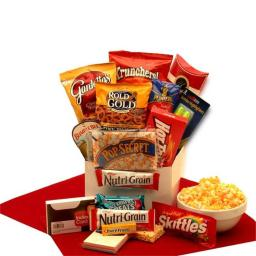 Gift Basket 819372 Study Snacks Care Package with White Gloss Gift Box