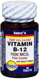 Basic Vitamins Vitamin B-12 1000 Mcg Tablets Time Released - 60 Ct, Pack Of 3