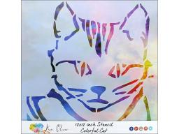 Ctttukn80482 contact crafts koliver stencil 12x12 colorful cat