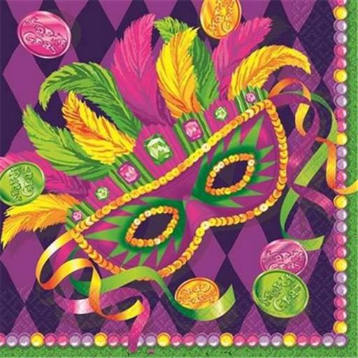 Amscan 511040 Mardi Gras Masquerade Lunch Napkins - Pack of 192