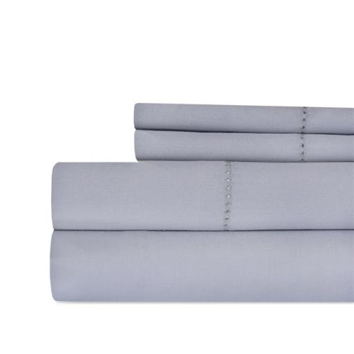 Aspire Linens HEM-500CTN-GRY-KG Hemstitch 500 Thread Count 100 Percent Cotton Sheet Set - King - Gray