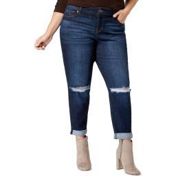 Celebrity Pink Womens Denim Distressed Girlfriend Jeans