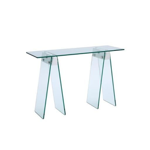 Casabianca Furniture CB-1050-WH Jetta 0.5 in. Glass Console Table, White Lacquer & Clear - 30 x 48 x 16 in.