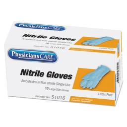 Acme United 21226 Ambidextrous Non-Sterile Single Use Nitrile Medical Gloves, Large - 10 per Box