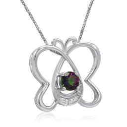 1/2ct Mystic Topaz and Diamond Butterfly Pendant-Necklace in Sterling Silver