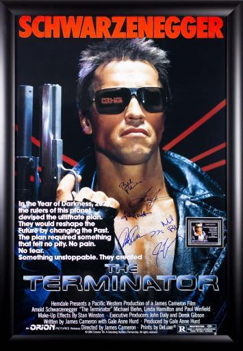 The Terminator - Cast Signed Movie Poster in Wood Frame with COA