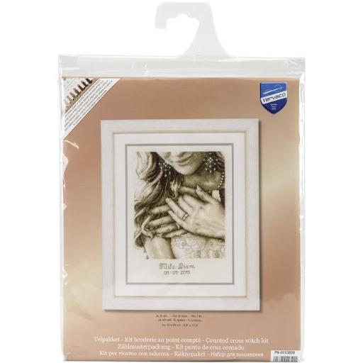 Vervaco V0153820 8.75 x 11.5 in. Yes I Do Wedding Record on Aida Counted Cross Stitch Kit