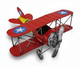 Red and Yellow Metal Bi-Plane Sculpture 12 in.