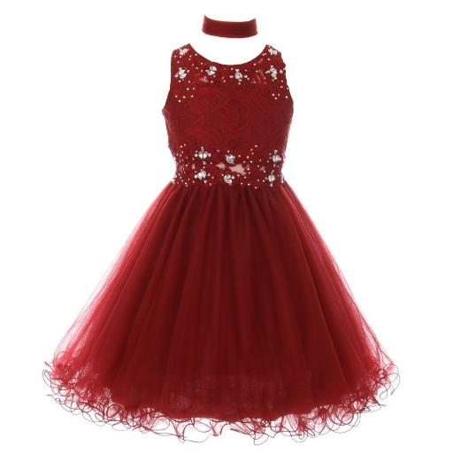 fbf7ef20d7c Cinderella Couture Big Girls Burgundy Lace Mesh Rhinestone Wired ...