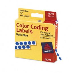 Avery 05793 Permanent Self-Adhesive Color-Coding Labels- 1/4in dia- Dark Blue- 450/Pack