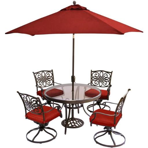 Hanover TRADDN5PCSWG-SU-R 48 in. & 9 ft. Traditions Dining Set with Glass-Top Table, Umbrella Table & Stand, Red - 5 Piece