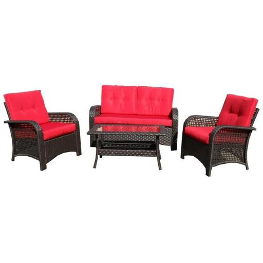 Northlight 32591323 4 Piece Brown Resin Wicker Outdoor Patio Furniture Set - Red Cushions