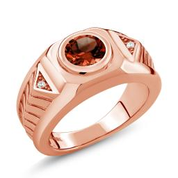 Gem Stone King Build Your Own Ring - Personalized Round Birthstone in 18K Rose Gold Plated Silver Men's Ring  (Available in Size 5,6,7,8,9)