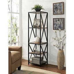 Walker Edison Furniture BST18XMWBW 61 in. Tall X-Frame Metal and Wood Media Bookshelf in Barnwood