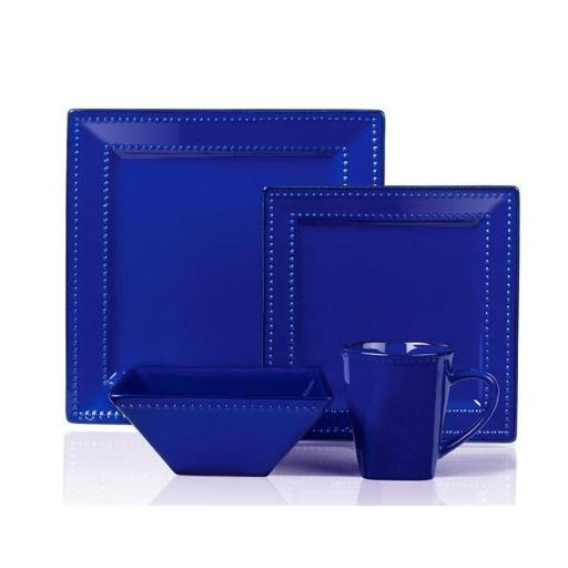 Lorenzo Import LH502 16 Piece Square Beaded Stoneware Dinnerware Set, Blue