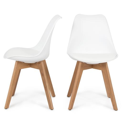 Belleze Set of (2) Retro DSW Mid Century Style Molded Plastic Chair Side Premium Seat Cushion Backrest Wooden Leg, White