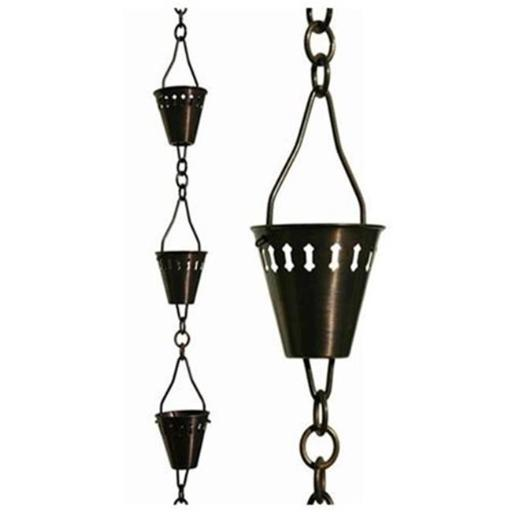 Patina Products R257H Antique Copper Shade Cup Rain Chain - Half Length