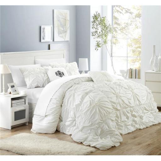 Chic Home CS1440-BIB-US 10 Piece Ramanda Floral Pinch Pleat Ruffled Designer Embellished Queen Comforter Set, White with Sheet Set