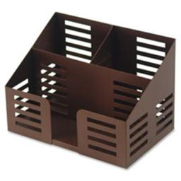 Lorell LLR84253 Stamped Metal 3 compartments Desktop Organizer