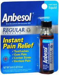Anbesol Liquid Regular Strength Cool Mint - 0.41 Oz, Pack Of 4