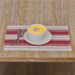 VHC Brands 33196 12 x 18 in. Samantha Red Ribbed Placemat - Set of 6