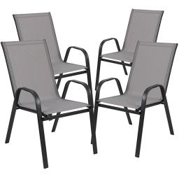 Offex 4 Pack Brazos Series Gray Outdoor Stack Chair with Flex Comfort Material and Metal Frame