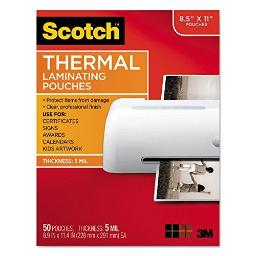"""Scotch Thermal Laminating Pouches, 8 15/16"""" x 11 7/16"""", Clear, Pack of 50, TP5854-50"""
