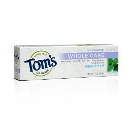 Toms Of Maine Whole Care Fluoride Peppermint Gel, 4.7 Ounce, 2 Count