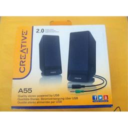 Creative 20 Speaker System Model A55 Quality Stereo Powered by USB