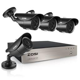 ZOSI 1080P Security Camera System8CH Full 1080P HD Video DVR Recorder with 4X HD 1920TVL 1080P Indoor Outdoor Weatherproof CCTV Cameras with 120ft Long Night VisionNO Hard Drive