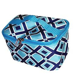 High Fashion Print Small Cosmetic Bag Can be Personalized (Blue Diamond - Blank)