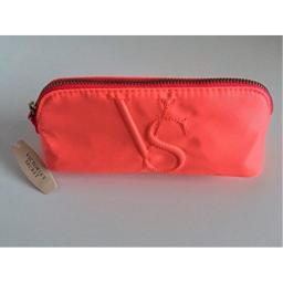 Victorias Secret VS Monogram Cosmetic Makeup Bag Coral & Pink