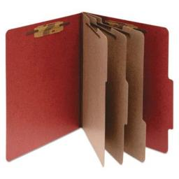 ACCO 16038 ACCO Pressboard 25-Point Classification Folder, Lgl, 8-Section, Earth Red, 10/Bx