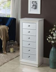 Wood Jewelry Armoire Having 6 Drawers with Mirror Front, White
