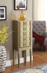 5 Drawer Wooden Jewelry Armoire with Knobs and Fluted Turned Legs, Gold