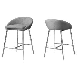 Offex OFX-504180-MO 2 Piece Kitchen Barstool, Grey Fabric/Chrome - Counter Height