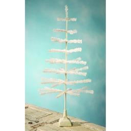 "Bethany Lowe 42"" Ivory Feather Tree w/Resin Base"