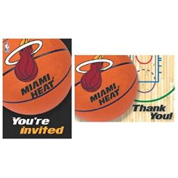 """""""Miami Heat NBA Collection"""" Party Invitation and Thank You Cards"""