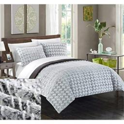 Chic Home 3 Piece New Faux Fur Collection Comforter Set Queen Grey