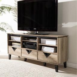 55 in. TV Stand in Light Brown Finish