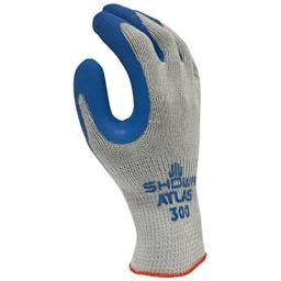 SHOWA 300L-09 Atlas Fit 300 Rubber-Coated Gloves, Large, Gray/Blue (12 Pair)