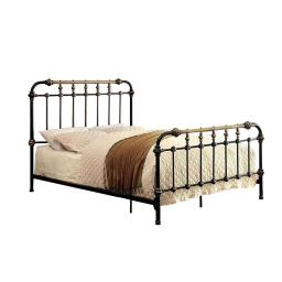 Classic Metal Twin Bed with gold accents, Black